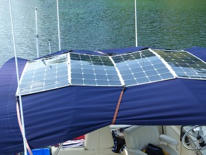 Solar panels temporarily attached to bimini.